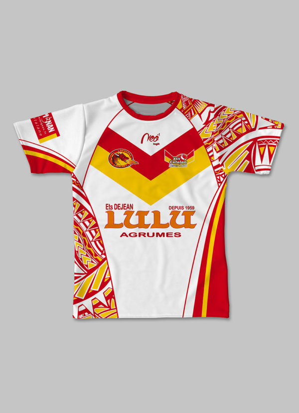 Maillot replica XIII Catalan tribal 2017 2018 face